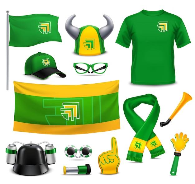 Suportes de fãs de esporte realistic mockup accessories Vetor grátis