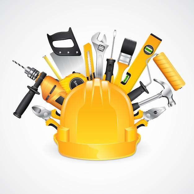 Suprimentos de ferramentas de construção para construtor de construção de casa Vetor Premium