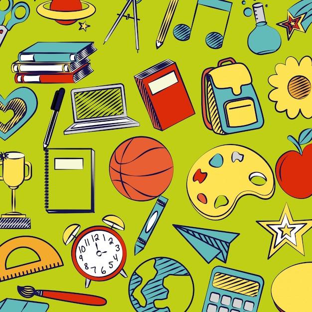 Suprimentos de volta às aulas, livros, basquete, despertador, régua, livros, globo Vetor grátis