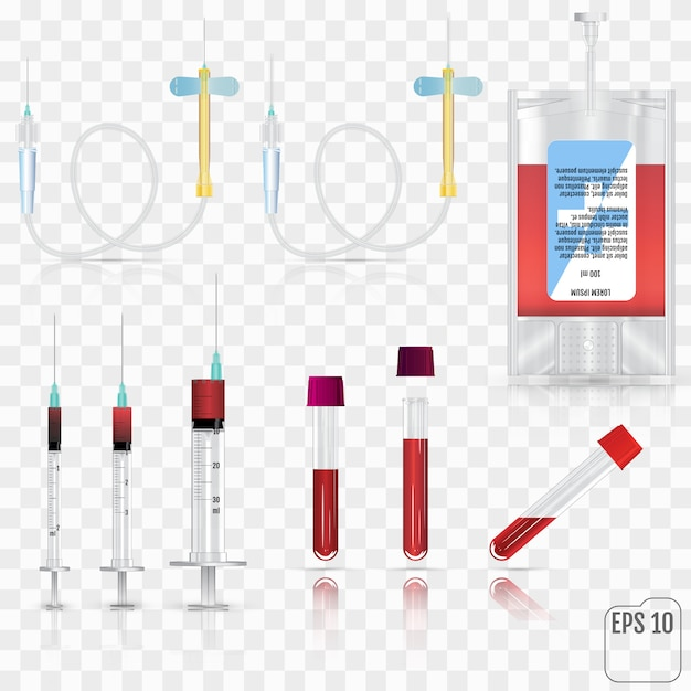Suprimentos médicos realistas. para conjunto de coleta de sangue, para breve Vetor Premium