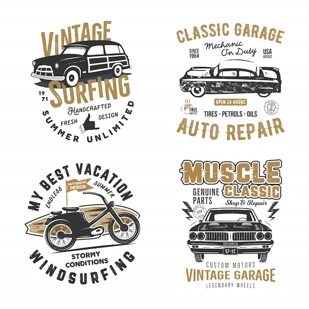 Surf and classic garage prints Vetor Premium