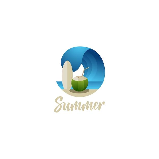 Surf de praia de verão e ilustrações de logotipo de bebida de coco Vetor Premium