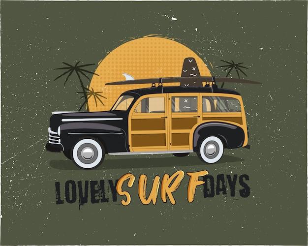 Surf vintage. emblema de verão com carro retrô woodie. adorável tipografia de dias de surf Vetor Premium