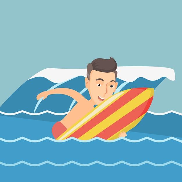 Surfista feliz em ação em uma prancha de surf. Vetor Premium