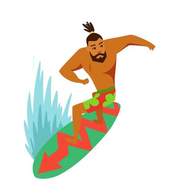 Surfista jovem, montando, um, surfboard Vetor Premium