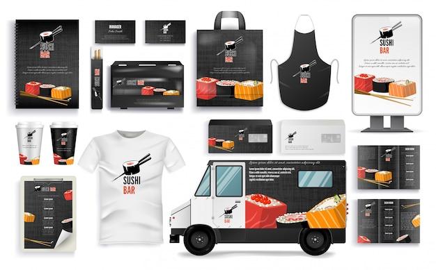 Sushi bar branding set com cafe menu, acessórios Vetor Premium