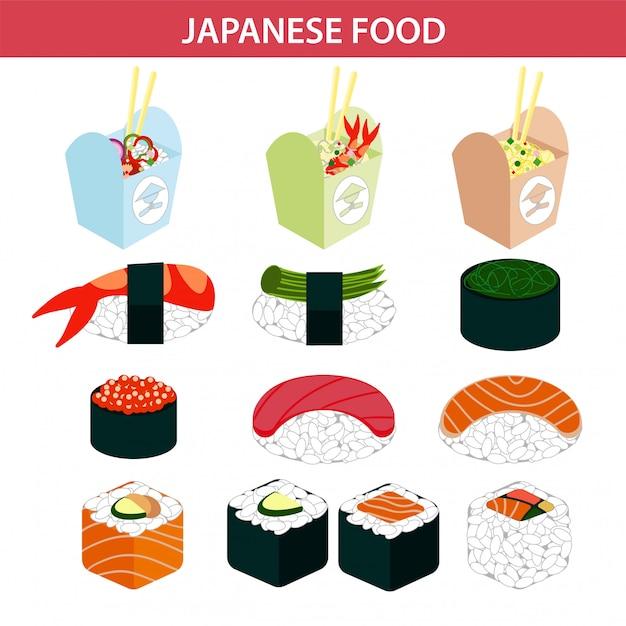 Sushi de sushi japonês e marisco sashimi rola vetor ícones Vetor Premium