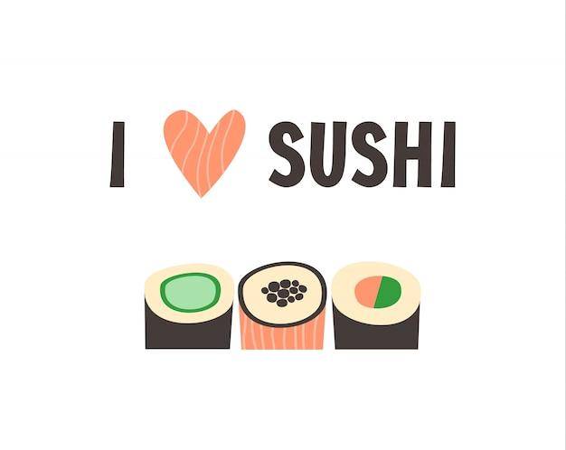 Sushi. ilustração de vetor japonês de sushi roll de comida. Vetor Premium