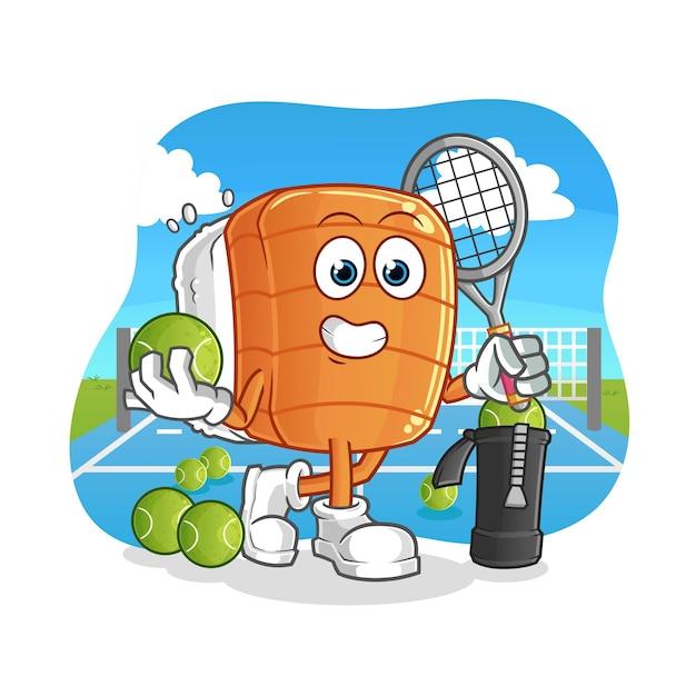 Sushi joga ilustração de tênis. personagem Vetor Premium