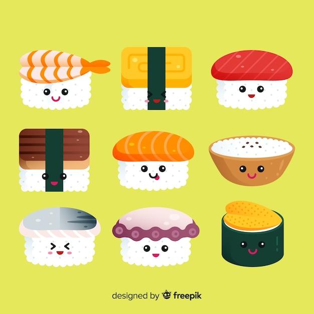 Sushi kawaii collectio Vetor grátis