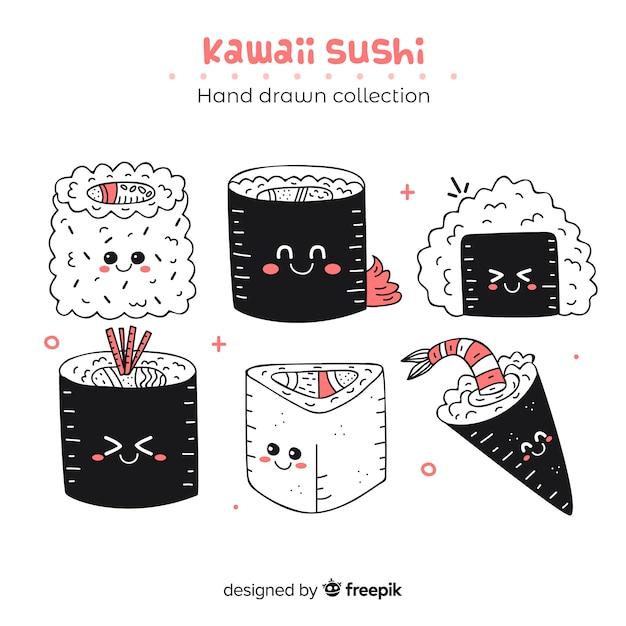 Sushi kawaii mão desenhada coleção Vetor grátis
