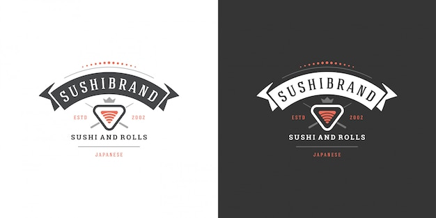 Sushi logotipo e crachá restaurante de comida japonesa com sushi salmão rolo cozinha asiática silhueta vector Vetor Premium