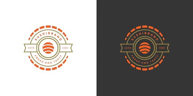 Sushi logotipo e distintivo restaurante de comida japonesa com sushi salmão roll ilustração em vetor cozinha asiática Vetor Premium