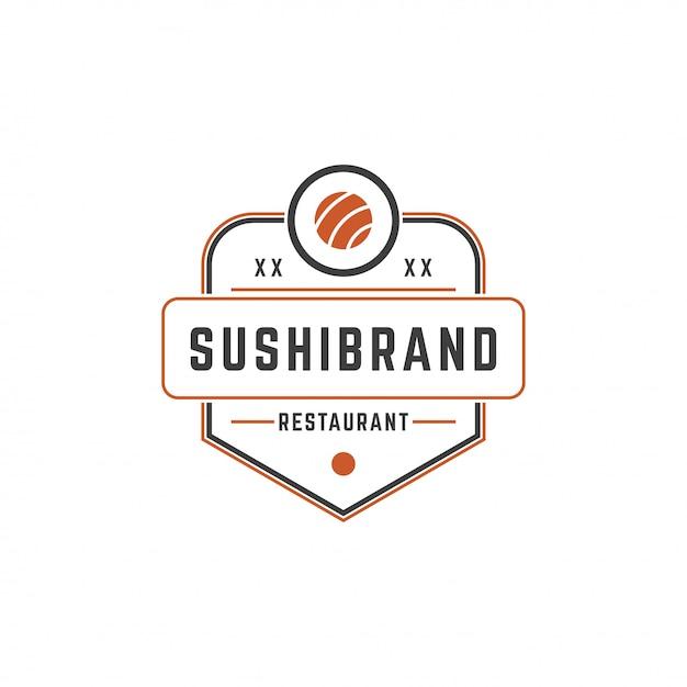 Sushi loja logotipo modelo salmão roll silhueta com ilustração em vetor tipografia retrô Vetor Premium