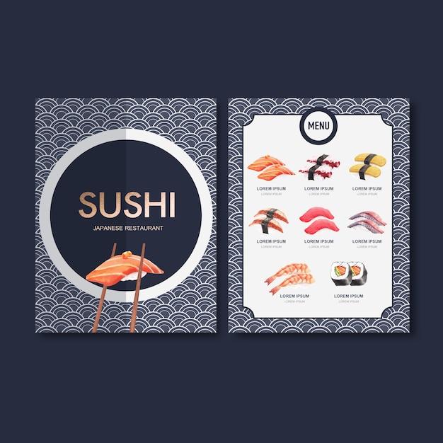 Sushi menu fixo para restaurante. Vetor grátis
