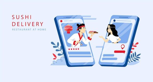 Sushi pedido online e conceito de entrega. Vetor Premium