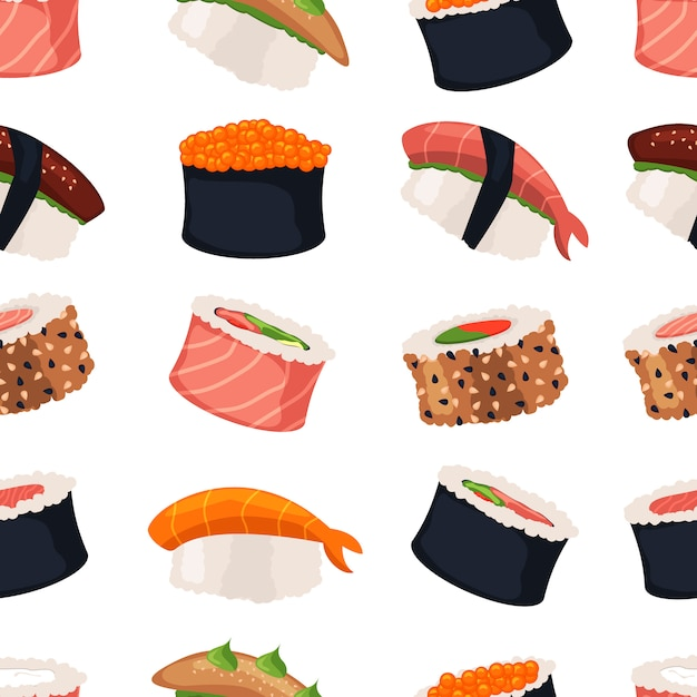 Sushi rolos sashimi marisco peixe arroz sem costura padrão Vetor Premium
