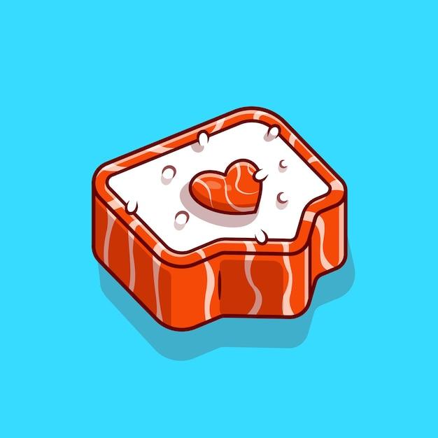 Sushi salmon amor cartoon ícone ilustração vetorial. conceito de ícone de comida japonesa. estilo flat cartoon Vetor Premium