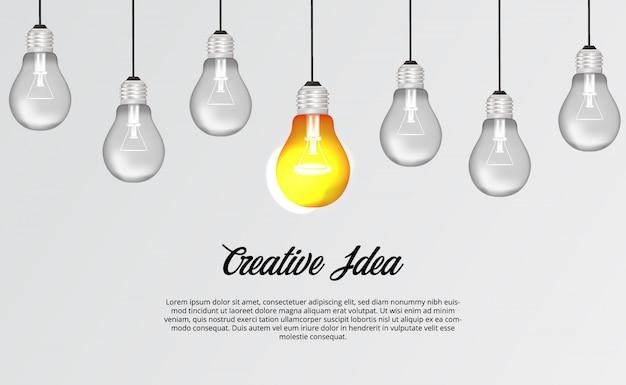 Suspensão da lâmpada de luz 3d para brainstorming idéia criativa solução ilustração conceito Vetor Premium