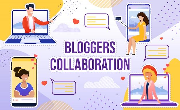 Sutilezas de colaboração do blogger para popularidade Vetor Premium