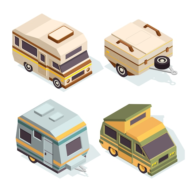 Suv e carros de acampamento. conjunto de imagens isométricas de carros de viagem Vetor Premium