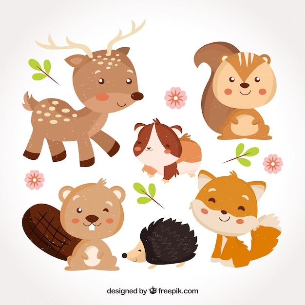 Sweet baby animals smiling Vetor Premium