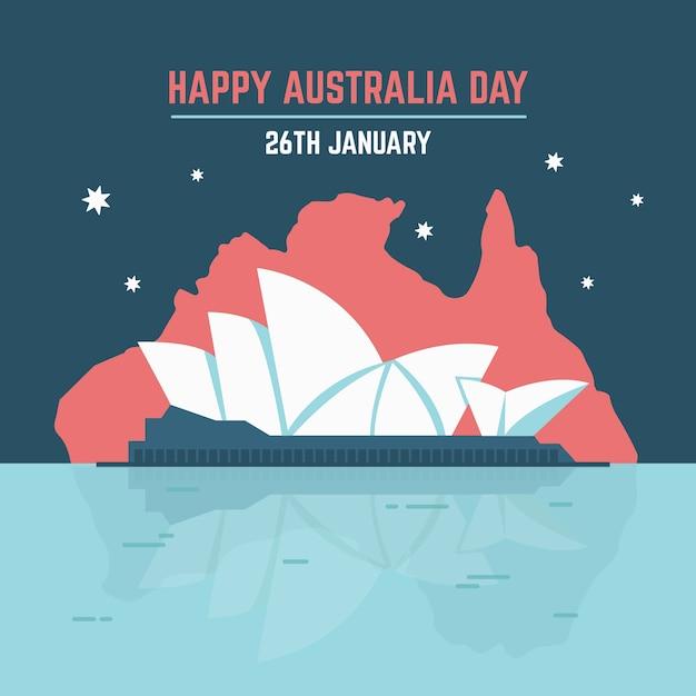 Sydney opera house feliz dia da austrália Vetor grátis