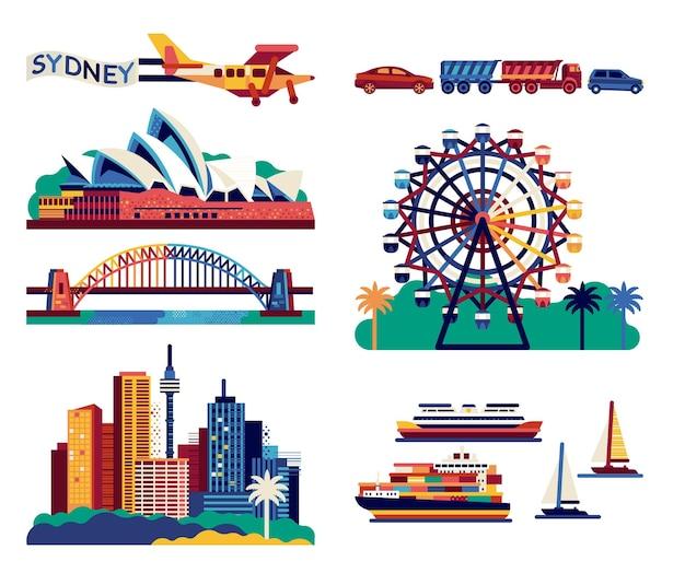 Sydney opera house, harbour bridge, marco da cidade. ilustração plana. Vetor Premium