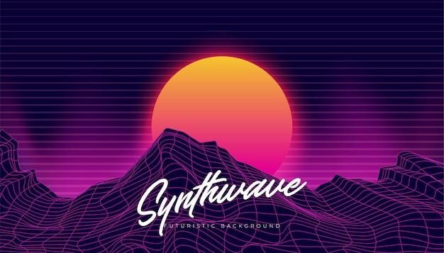 Synthwave 3d background landscape 80s ilustração Vetor Premium