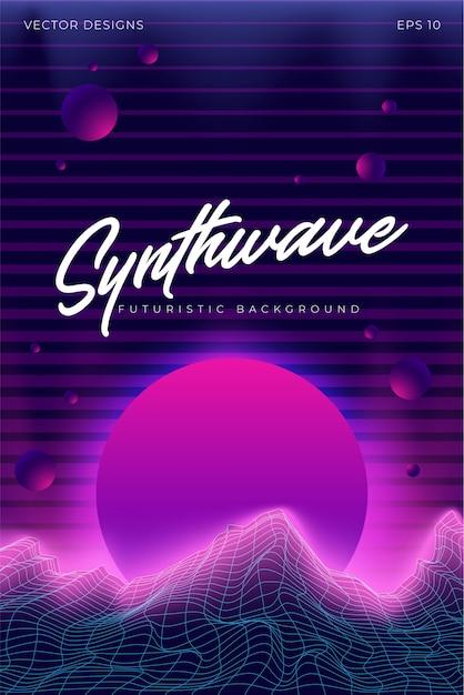 Synthwave background landscape 80s ilustração Vetor Premium