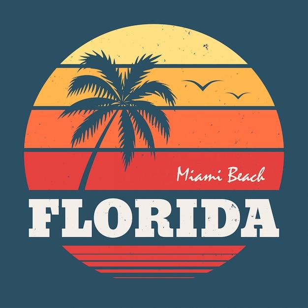 T de florida miami beach camiseta Vetor Premium