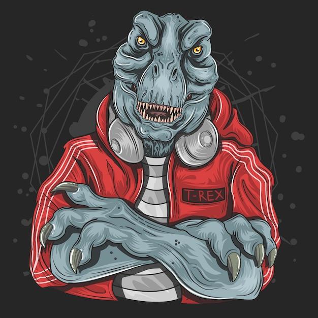 T-rex dj música jockey Vetor Premium