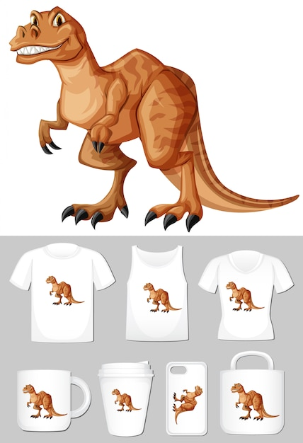 T-rex em diferentes tipos de modelo de produto Vetor grátis