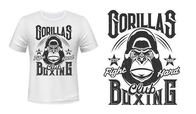 T-shirt com estampa de gorila desenho de ilustração do emblema do clube da luta de boxe Vetor Premium