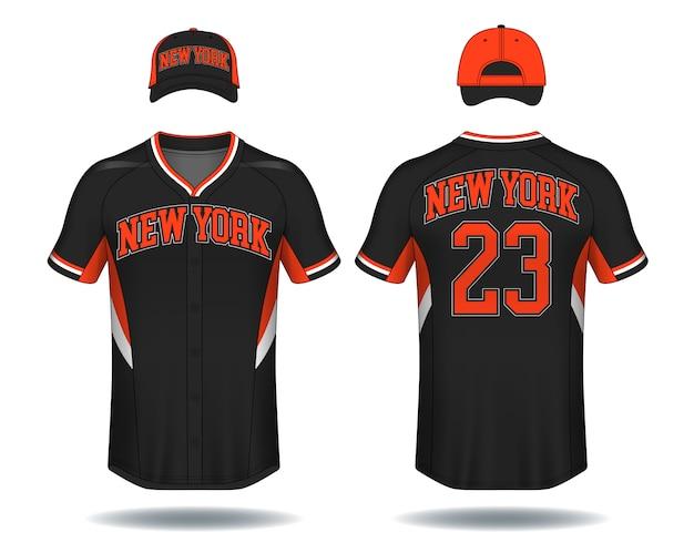 T-shirt de beisebol simulado acima. Vetor Premium