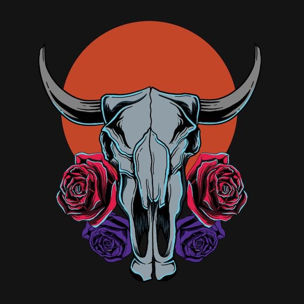 T-shirt do crânio e das rosas da cabra Vetor Premium