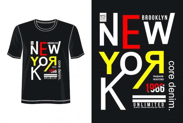 T-shirt do design da tipografia da cidade de nova iorque Vetor Premium