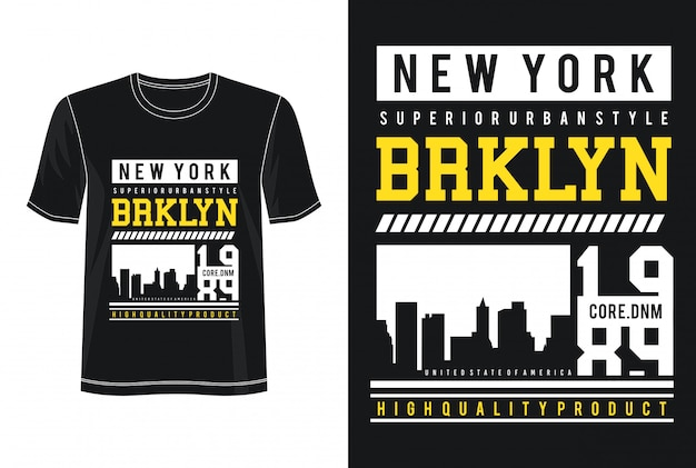 T-shirt do design do design de new york Vetor Premium