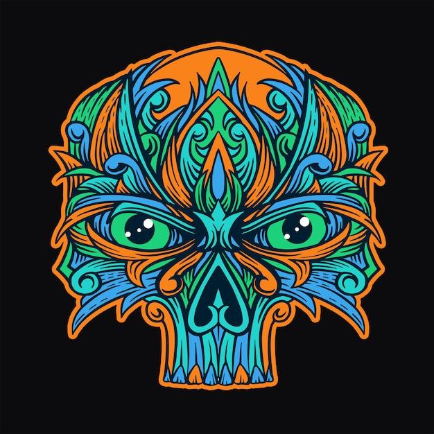T-shirt do ornamento do crânio Vetor Premium