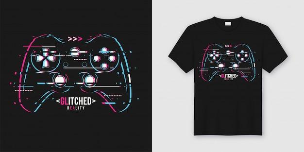 T-shirt e vestuário elegantes na moda com gamepad com falhas Vetor Premium