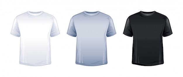 T-shirt em branco mock-se na cor branca, cinza e preta. Vetor Premium