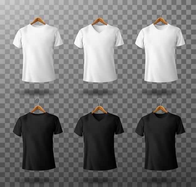 T-shirt maquete preto e branco camiseta masculina com mangas curtas na vista frontal do modelo de cabides de madeira. Vetor grátis