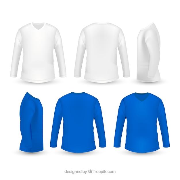 T-shirt masculina em diferentes pontos de vista com estilo realista Vetor Premium