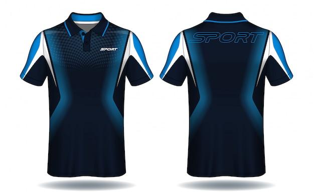 T-shirt polo design, modelo de camisa de esporte. Vetor Premium