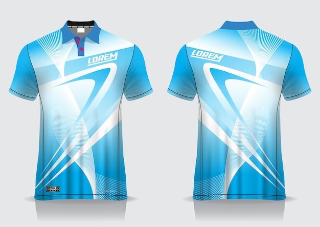 T-shirt polo esporte design, maquete de badminton jersey para modelo uniforme Vetor Premium