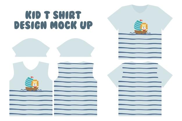 T shirt print design, frente e verso camiseta mock up design, cute little lion do sailing Vetor Premium