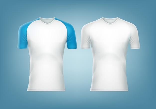 T-shirt raglan com manga curta azul e t-shirt branca Vetor grátis