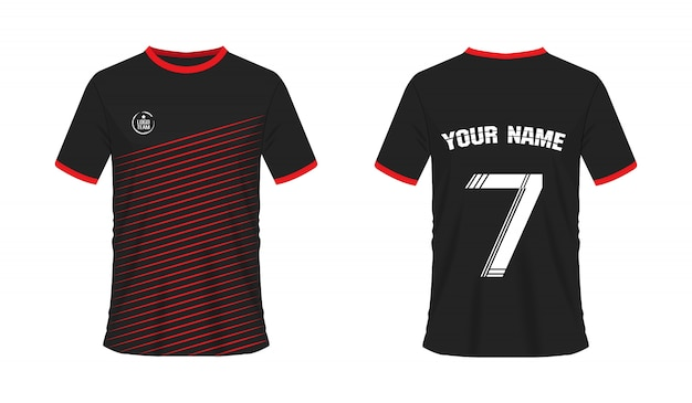 T-shirt vermelha e preta futebol ou futebol modelo para o clube da equipe Vetor Premium