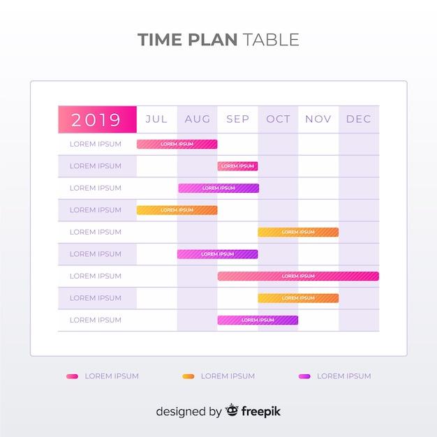 Tabela de plano de tempo Vetor grátis