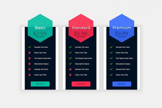 Tabela de preços da web com detalhes do plano Vetor grátis